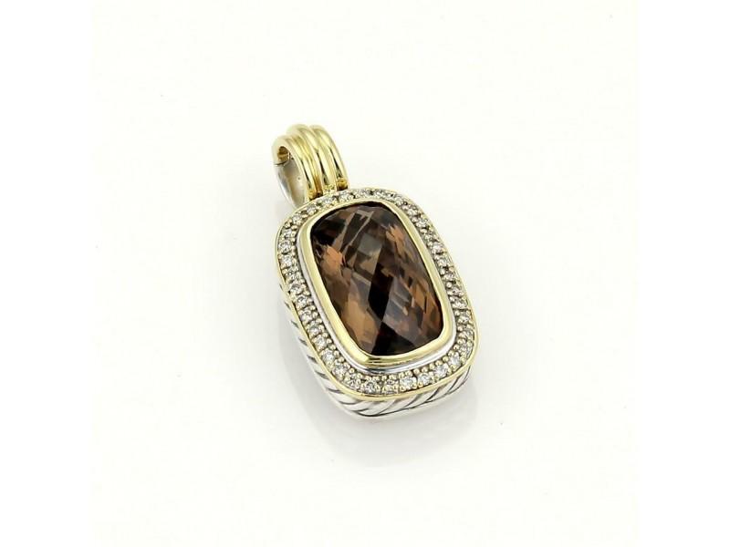 David Yurman 925 Silver 18k YGold Diamonds & Smokey Topaz Pendant