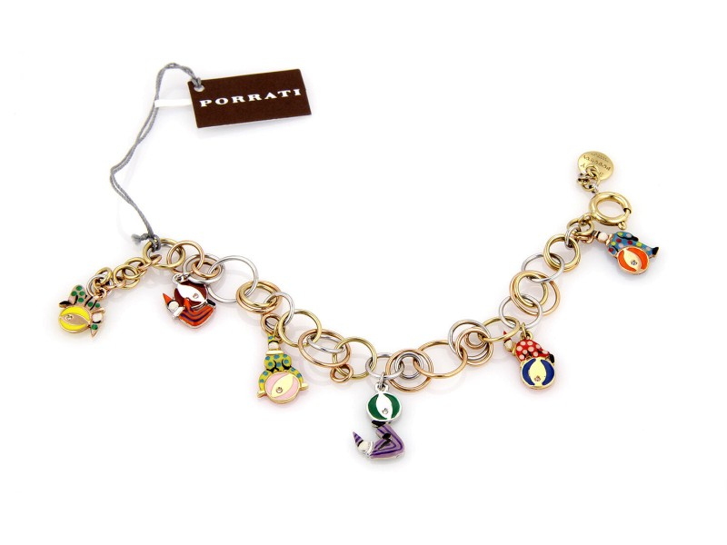 $8,050 NEW Roberta Porrati Baby Caracol 18K Tri Color Gold Clown Charm Bracelet