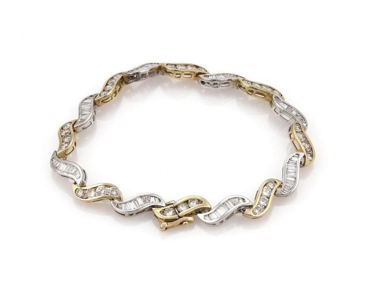 Estate 5.60ct Diamonds 14k Gold Curved Channel S Link Bracelet