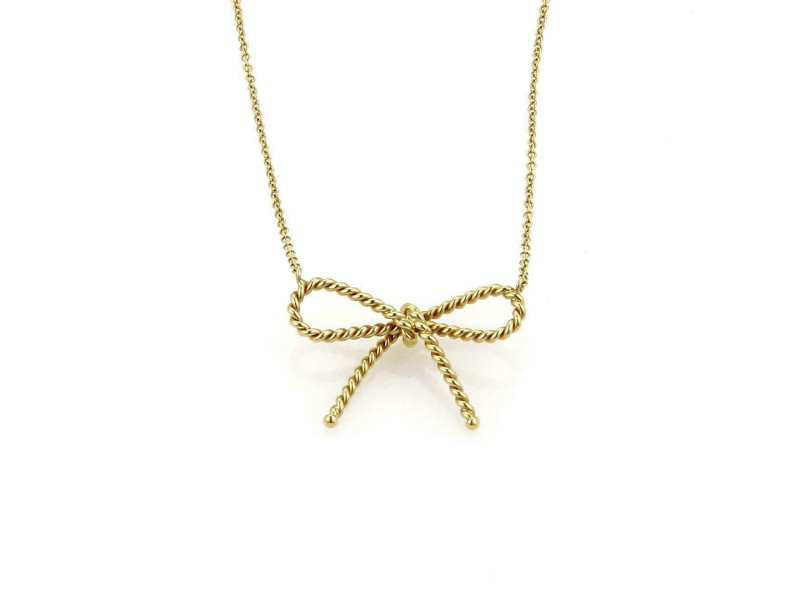 Tiffany & Co. 18k Yellow Gold Twisted Cable Wire Bow Pendant & Chain