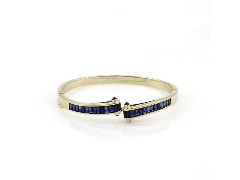 Estate 5.40ct Sapphire & Ruby 14k Yellow Gold Fancy Bangle Bracelet