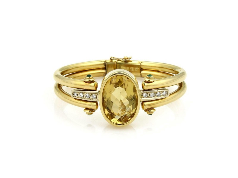 Estate 15.24ct Citrine Onyx & Diamond 18k Yellow Gold Flex Bangle Bracelet