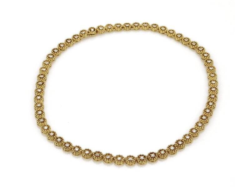 4.00ct Diamond 14k Yellow Gold Circle Bead Link Tennis Eternity Necklace