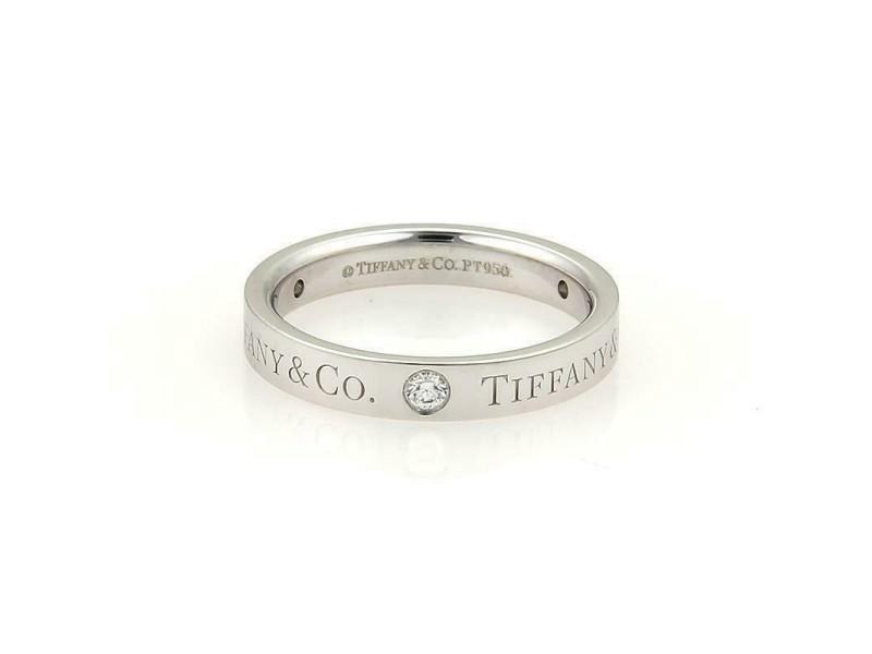Tiffany & Co. Diamond Signature Platinum 3mm Band Ring Size - 5