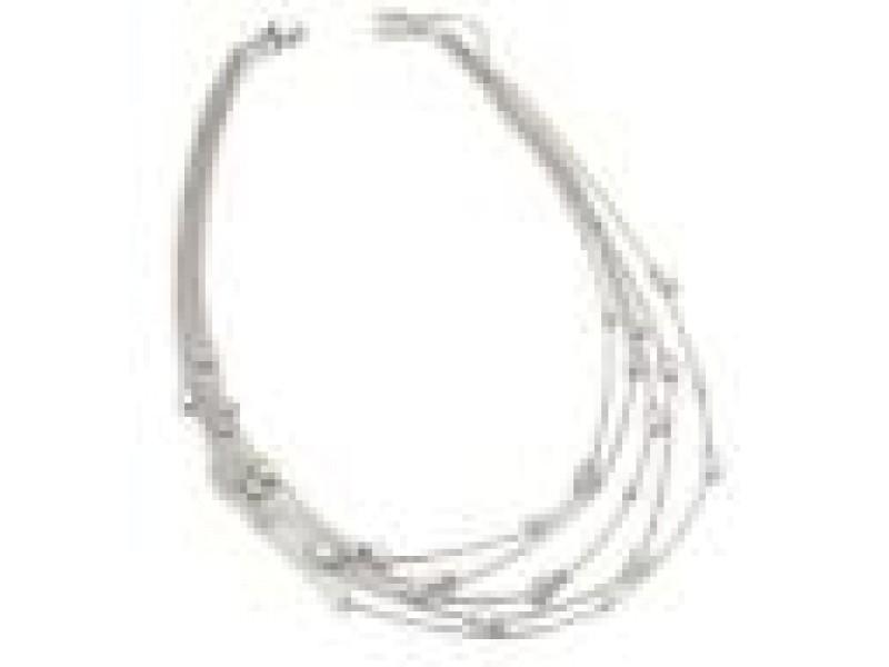H.Stern Diamond 18k White Gold 5 Rows Box Link Chain Drape Necklace