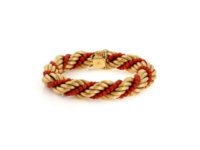 Vintage 18k Yellow Gold Coral Bead Strand 13.5mm Twisted Rope Bracelet
