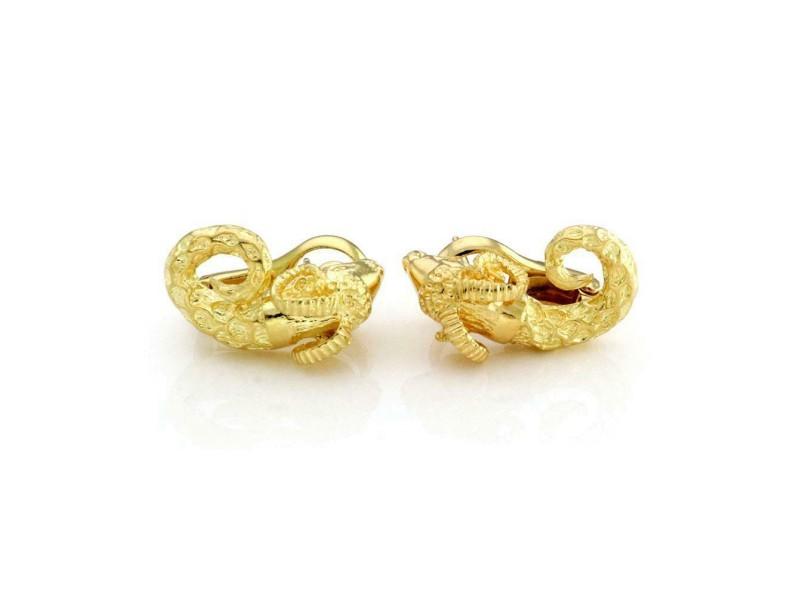 Zolatas 18k Yellow Gold 3D Ram Head Clip On Earrings