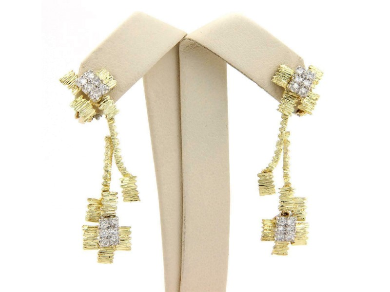 Diamond 18k Two Tone Gold Textured Drop Dangle Clip On Earrings