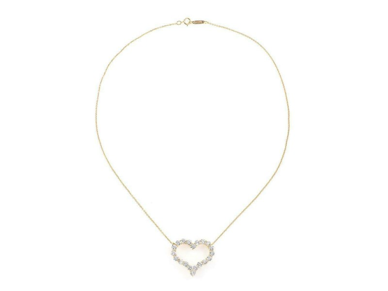 Tiffany & Co. 1.96ct Diamond 18k Yellow Gold Large Open Heart Pendant Chain
