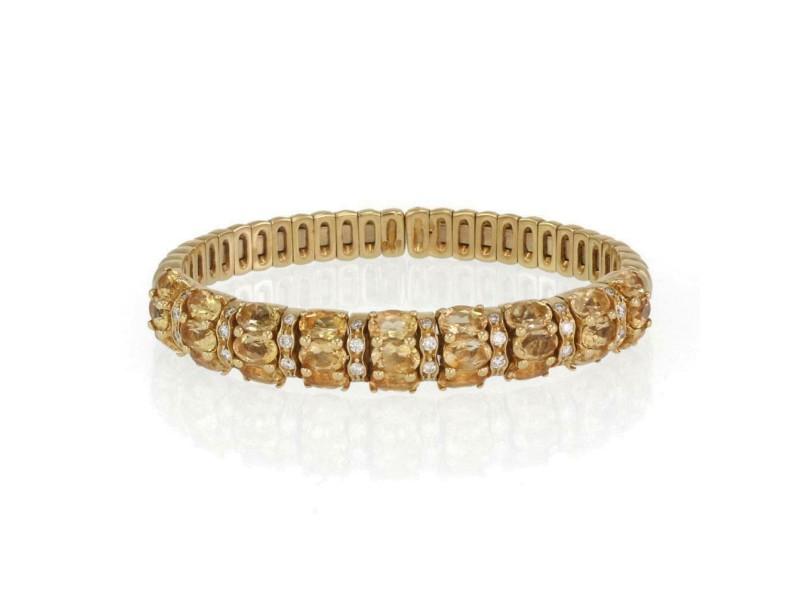 Estate 14 Carats Diamond & Citrin 18k Yellow Gold Flex Cuff Bracelet