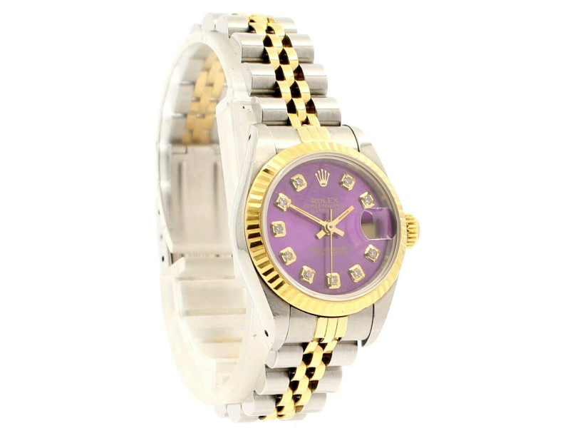 Ladies ROLEX Oyster Perpetual Datejust 26mm SHINY PURPLE Diamond Dial  Watch