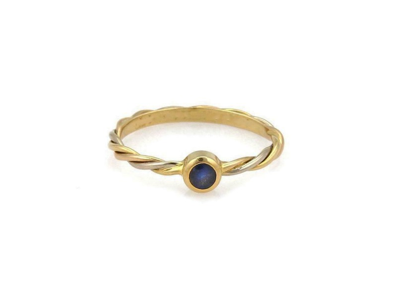 Cartier Sapphire 18k Tricolor Gold Twisted Wire Band Ring Size 48-US 4.5