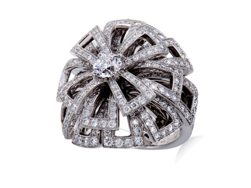 Chanel 18K White Gold and Diamond Cocktail Ring Size 5.5