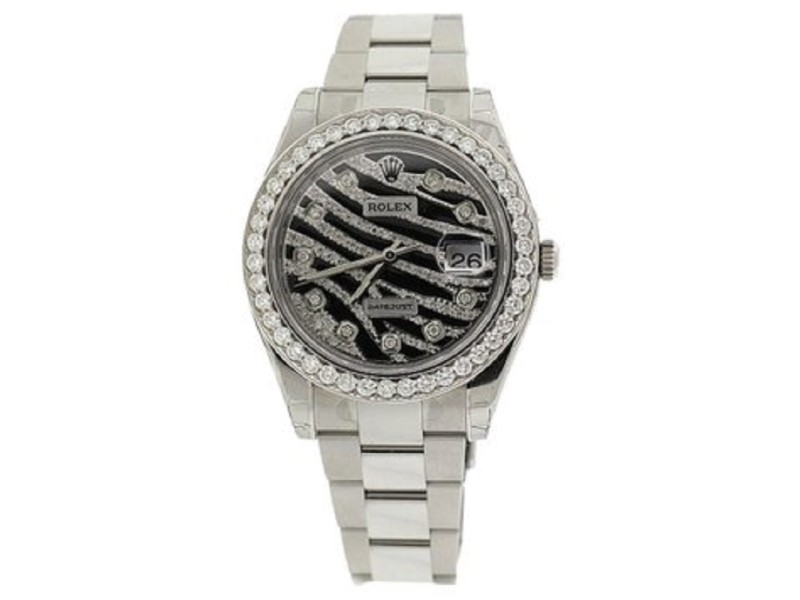 Rolex Datejust II Zebra Printed Diamond Mens Watch