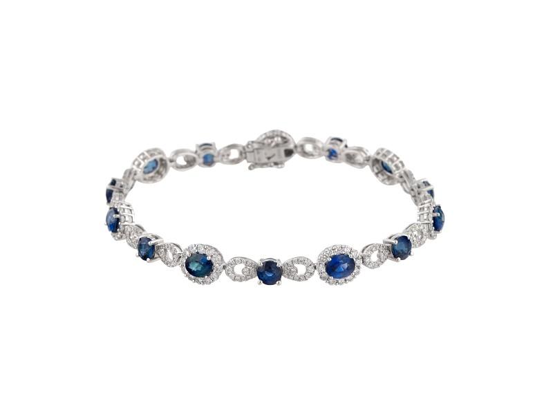 18k White Gold Diamond And Sapphire Bracelet