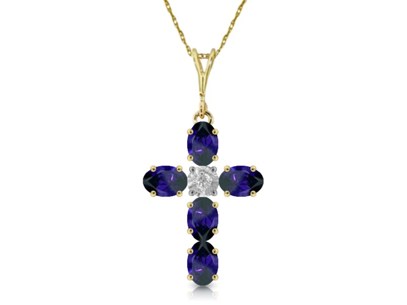 1.88 CTW 14K Solid Gold Cross Necklace Natural Diamond Sapphire