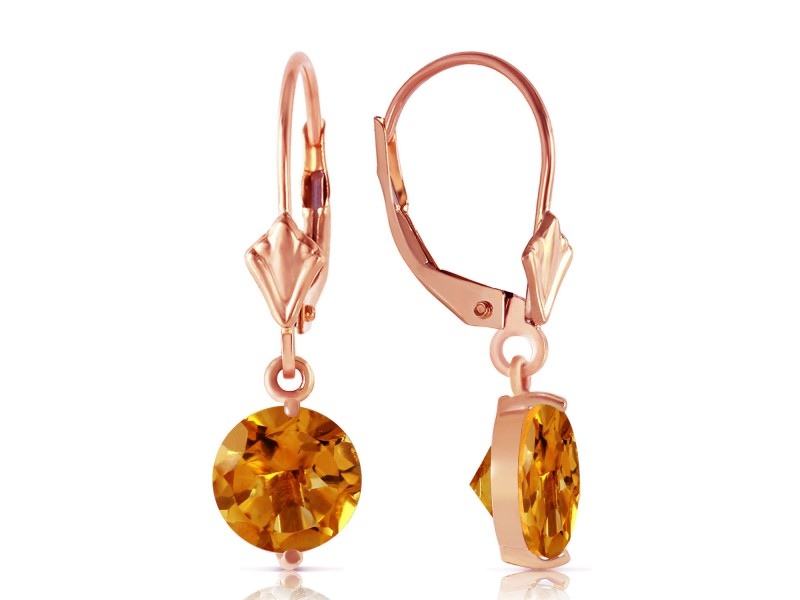 3.1 CTW 14K Solid Rose Gold Leverback Earrings Citrines