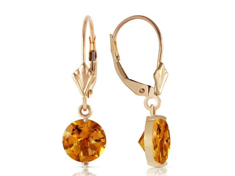 3.1 CTW 14K Solid Gold Leverback Earrings Citrines