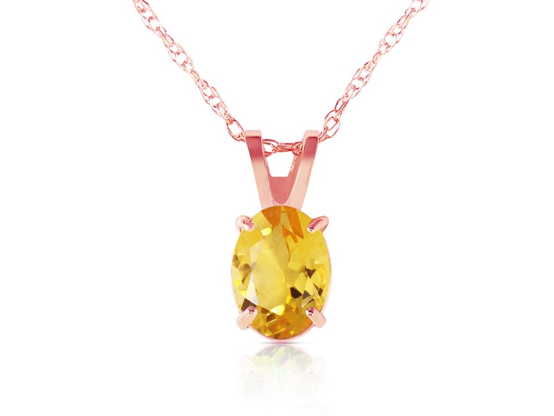 0.85 CTW 14K Solid Rose Gold Solitaire Citrine Necklace