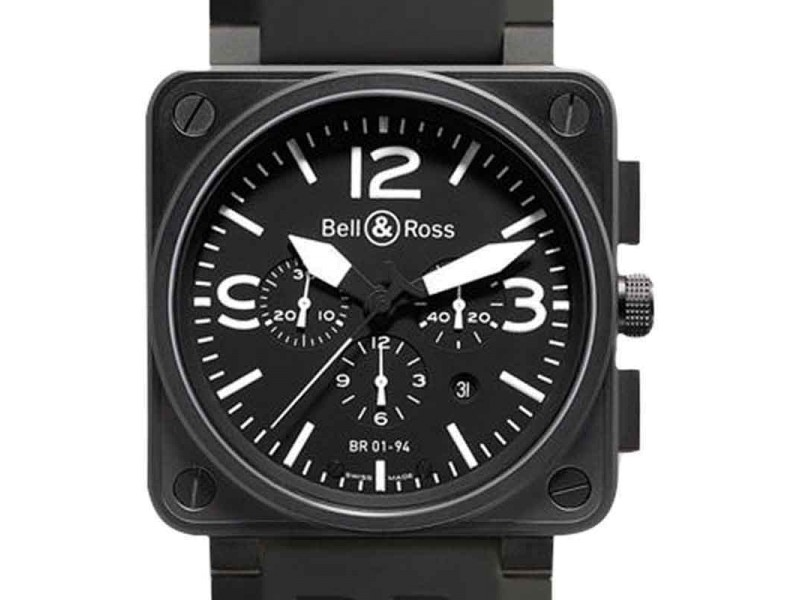 Bell & Ross BR01-94-Carbon Black Dial White Numbers Watch