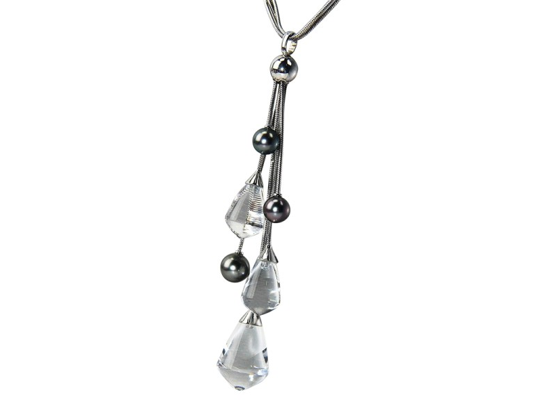 Baccarat 18K White Gold, Black Tahitian Pearls & Full Lead Crystal Divine Necklace