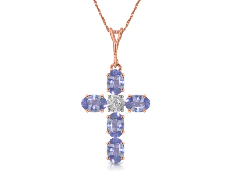 1.75 CTW 14K Solid Rose Gold Cross Necklace Natural Diamond Tanzanite