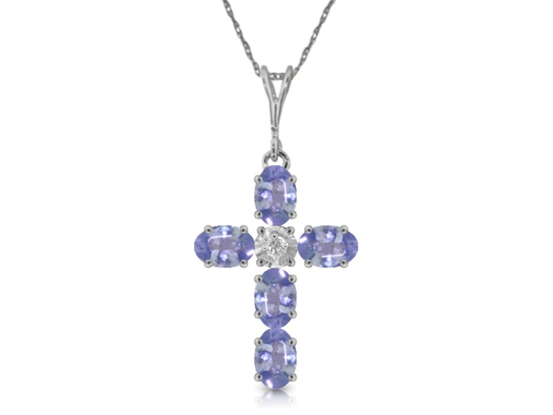 1.75 CTW 14K Solid White Gold Cross Necklace Natural Diamond Tanzanite