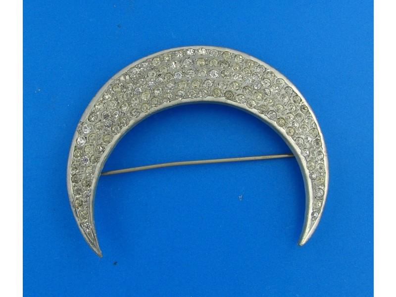 Costume Paste & Metal Crescent Pin Brooch