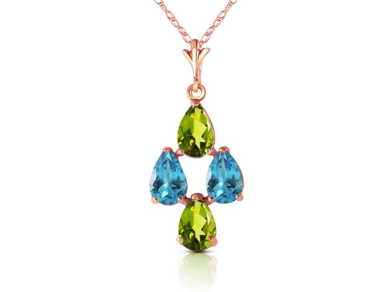 1.5 CTW 14K Solid Rose Gold Necklace Natural Blue Topaz Peridot