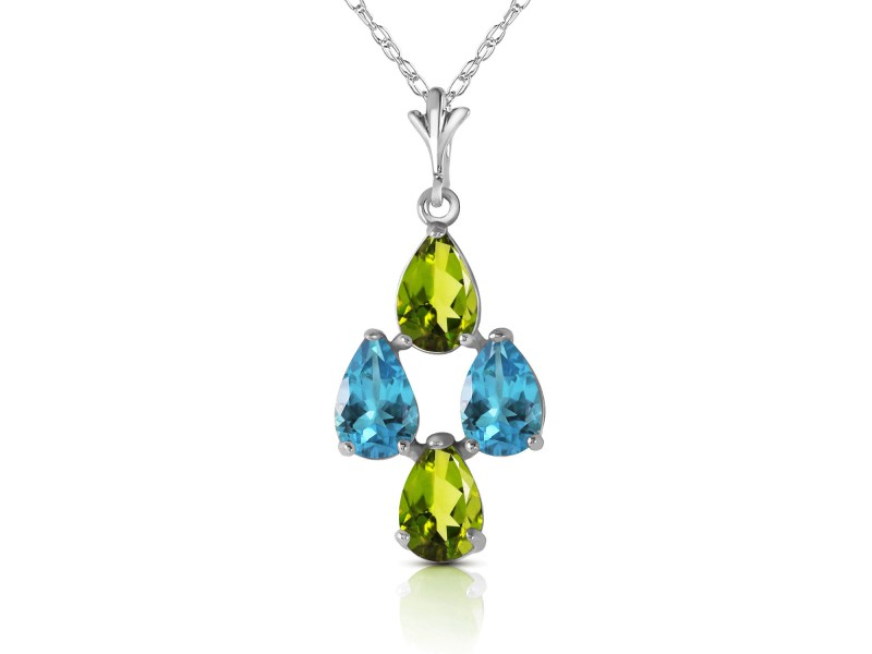 1.5 CTW 14K Solid White Gold Necklace Natural Blue Topaz Peridot