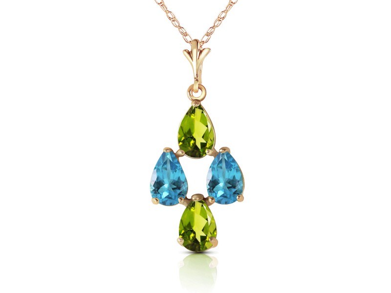 1.5 CTW 14K Solid Gold Necklace Natural Blue Topaz Peridot