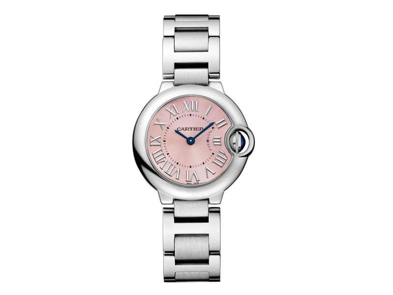 Cartier Ballon Bleu 28mm w6920038 Stainless Steel Quartz Pink Dial Watch