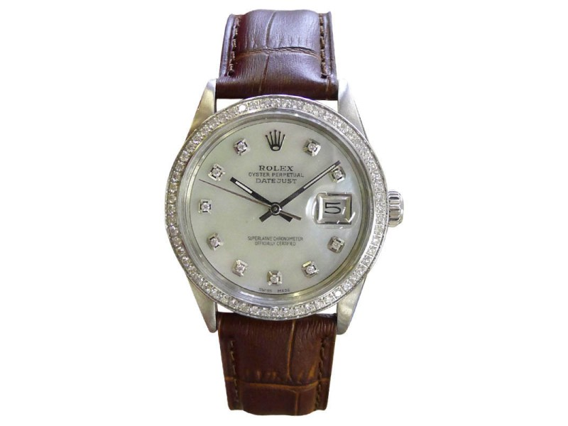Rolex Oyster Perpetual Datejust 36mm Diamonds Mother-of-Pearl Watch