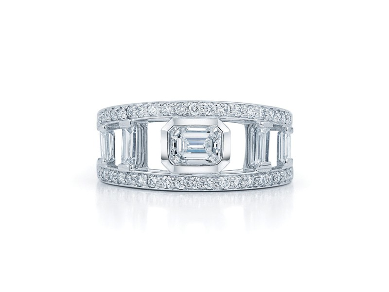 Kwiat  Platinum Fancy Ring From The Decho Collection Size 6.5