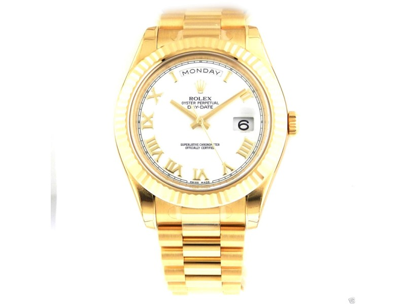 Rolex Day-Date II President 41mm 218238 White Roman Dial