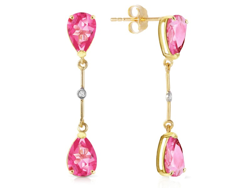 7.01 CTW 14K Solid Gold Diamond Pink Topaz Dangling Earrings