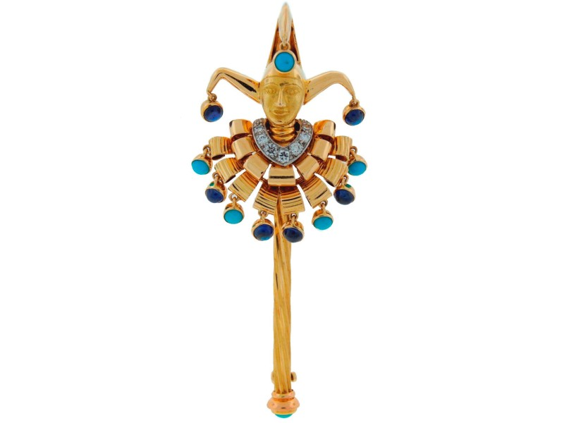 Cartier Yellow Gold Turquoise Sapphire Diamond Brooch Pin