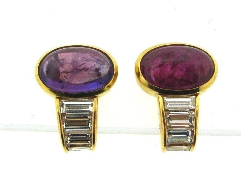 Bulgari 18k Yellow Gold Amethyst Tourmaline Diamond Earrings
