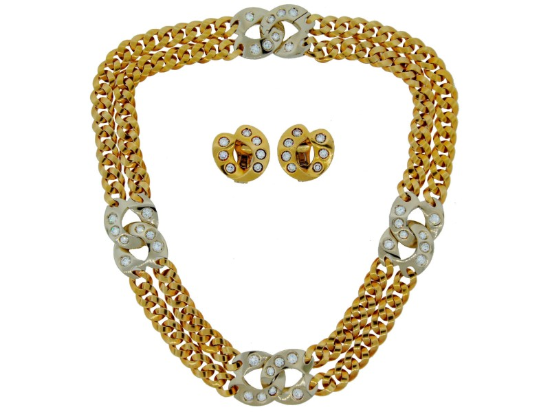 Pomellato Gold Diamond Necklace & Earrings Set