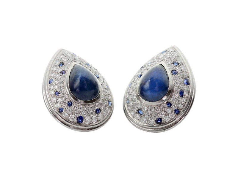 Cartier Platinum Diamond Blue Sapphire Clip-On Earrings