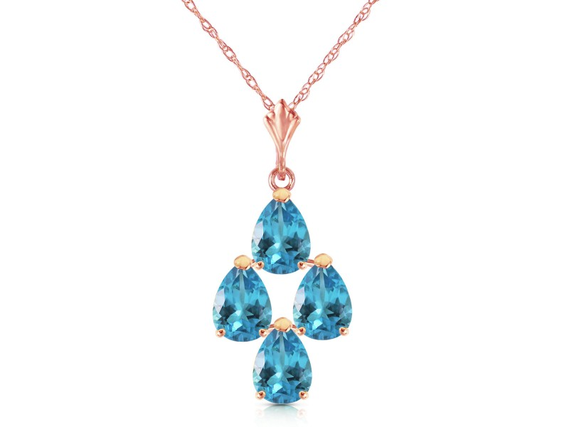 1.5 CTW 14K Solid Rose Gold Pyramid Blue Topaz Necklace