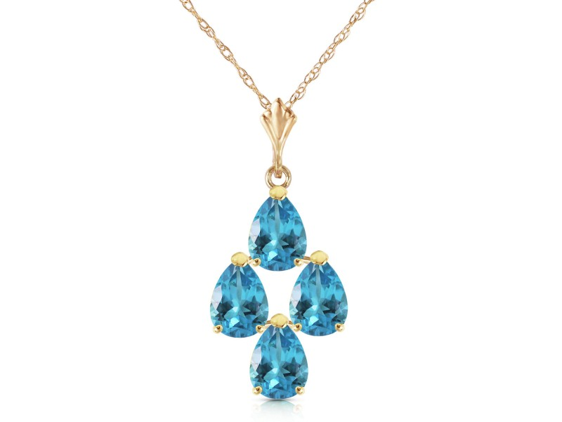 1.5 CTW 14K Solid Gold Not Just An Admirer Blue Topaz Necklace