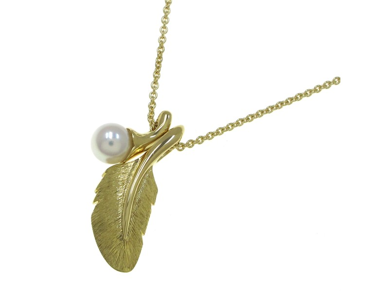 Mikimoto 18K Yellow Gold Pearl and Feather Necklace