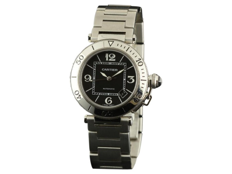 Cartier Pasha Seatimer 40mm W31077M7 Stainless Steel Black Mens Watch
