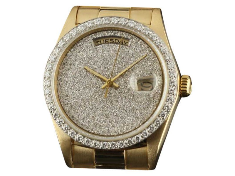 Rolex Day-Date President 18038  Diamond Pave Gold 36mm Watch 1981