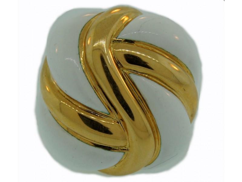 Andrew Clunn White Enamel & 18K Yellow Gold Ring