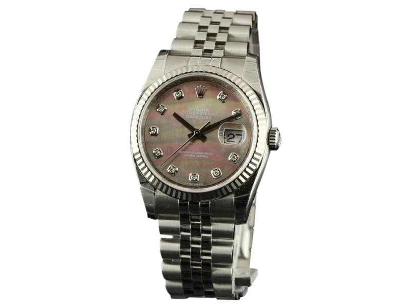 Rolex Datejust 116234 Steel Dark MOP Diamond 36mm Mens Watch