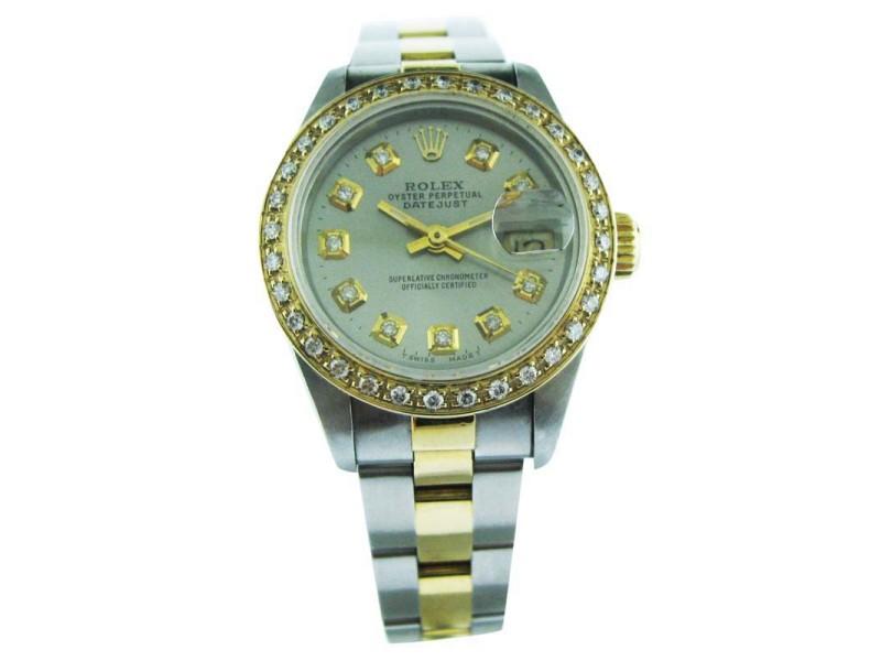 Rolex Oyster Perpetual Datejust Yellow Gold & Steel Diamond Dial Bezel Watch