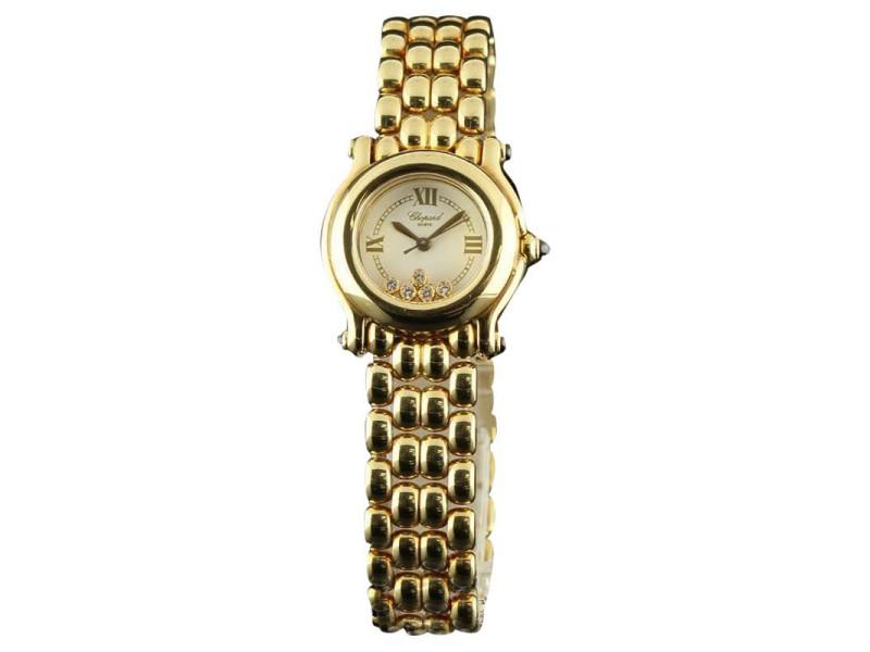 Chopard Happy Sport 5 Floating Diamond 27/6150 Yellow Gold Womens Watch