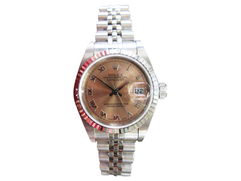 Rolex Oyster Perpetual Datejust 18K White Gold & Steel Salmon Dial Watch